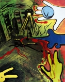 Pop art painting of a man lying in a city alley while a yellow rabbit looks on