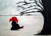 Abstract expressionism painting of a girl sitting in the snow with a red umbrella and red boots