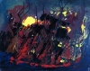 Abstract expressionism painting of a ship on fire sinking into the ocean at night
