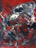 Abstract expressionism painting of tiny round pebbles mixed in with red, black, gray and white paint