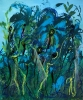 Abstract expressionistic painting of tiny fairy-like ballerinas dancing under large blue and green flowers