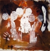 Abstract painting of white female torsos against multi-brown background