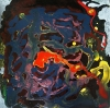Abstract expressionistic painting of anticoagulated fluids spilling from a human body