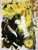 Abstract expressionistic painting of a woman's torso engulfed by yellow and black shapes
