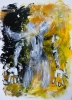 Abstract expressionistic painting of a naked woman's torso regenerating from dispersed particles