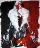 Abstract expressionistic painting of a woman's naked torso caped with a white shawl and positioned between a black and red wall