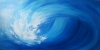 Abstract impressionistic painting of a crashing blue wave