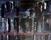 Abstract painting of black city skyline along a river and during the night