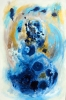 Abstract painting of dark blue and light blue water accented by gold
