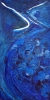 Abstract painting of the head and breast of a bluejay bird