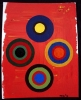 Abstract painting of 4 multi-colored circles