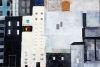 Abstract painting of various sizes of buildings within a city