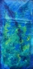 Abstract painting of sea life floating in deep blue ocean water