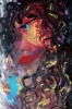 Abstract painting of a girl with long black curly hair, red lips and a bright blue eye
