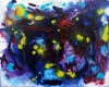 Small dots of flourescent green and red emanate from an abstract blue and purple background