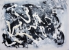 Abstract painting of jumping beans in a black and white theme