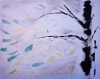 Abstract painting of green and yellow leaves that float in the air as snow flurries fall
