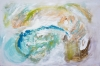 Abstract painting of sea foam, crushed shells, seaweed and a crustacean