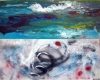 Two sided abstract painting of a storm - one side with a tempest and the other side with a tornado