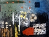 Abstract painting of a bustling city at night while it rains