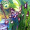 Abstract painting of impatiens and orchids growing wild in a rainforest