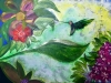 Impressionistic painting of blue iridescent hummingbird hovering in tropical forest