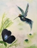 Impressionism painting of hummingbird hovering above a blue flower