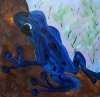 Impressionism painting of a cobalt tree frog on the bark of a tree