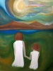 Impressionism painting of two little girls holding hands and walking through a green field next to a mountain and lake
