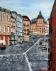 Impressionism painting of the town Mainz, Germany