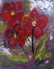 Impressionistic painting of three red impatient flowers with lime colored leaves against a gray background.