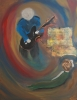Impressionism painting of a man playing guitar and singing to his wife