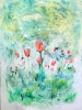 Impressionism painting of peach and coral tulips blooming in a muted green field