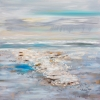 Impressionism painting of a light rain descending over one spot of the ocean