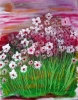 Impressionistic painting of perky pink, red and white periwinkles growing in a field