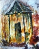 Impressionistic painting of a small cottage with snow falling on it