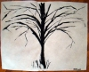 Black and white painting of a stark and leafless trees whose branches curve and bend toward the earth