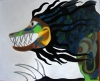 Pop art painting of a dragon's head with flowing black tentacles
