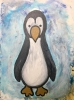 Pop art painting of a young emperor penguin against icy blue background