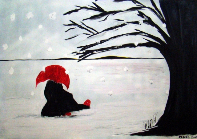 Abstract expressionism painting of a girl sitting in the snow wearing a large black coat and holding a red umbrella