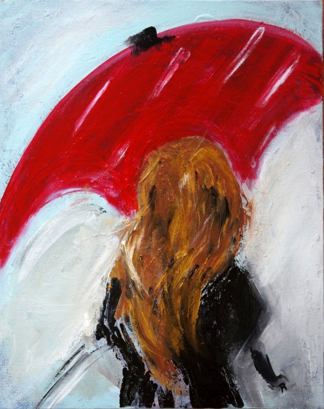 Abstract expressionism painting of a girl with long hair wearing a large black coat and holding a red umbrella as snow falls