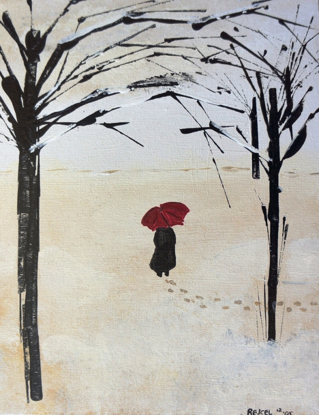 Abstract expressionism painting of a girl walking between trees wearing a large black coat and holding a red umbrella
