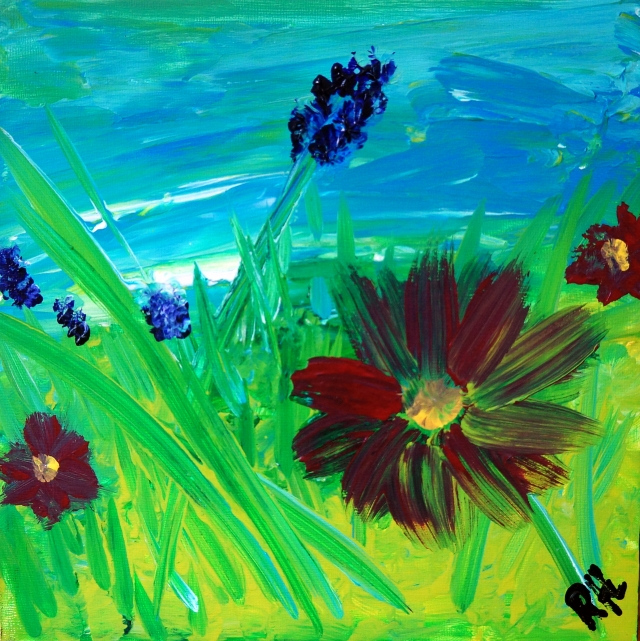 Abstract Painting of Flowering Weeds in Grass