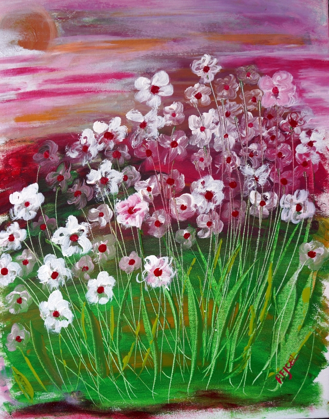 Abstract Painting of Flowers - Wild Periwinkles