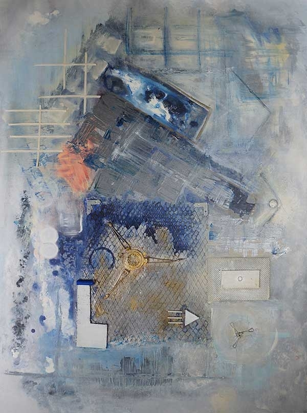 Abstract painting entitled Gray City in portrait orientation
