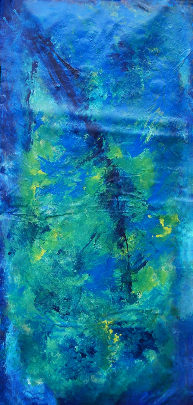 Abstract painting featuring blue palette entitled Deep Blue