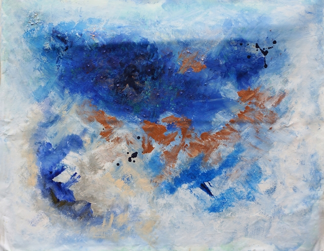 Abstract painting featuring blue palette entitled Impending