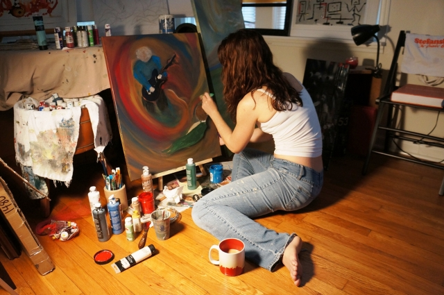 Artist Rachael Harbert creates a commissioned painting in her studio