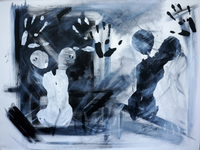 Black and White Abstract Painting of Two Female Torsos and their Hands