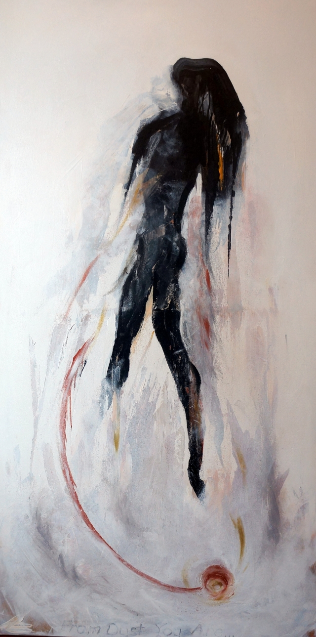 Black and white abstract painting of a woman floating above the ground
